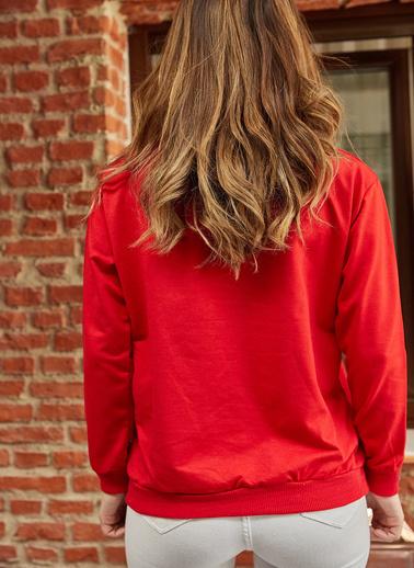 XHAN Gazete Baskılı Sweatshirt 9Yxk8-41842-18 Kırmızı